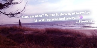 Motivational Quote. Man standing on the Baltic Sea beach.