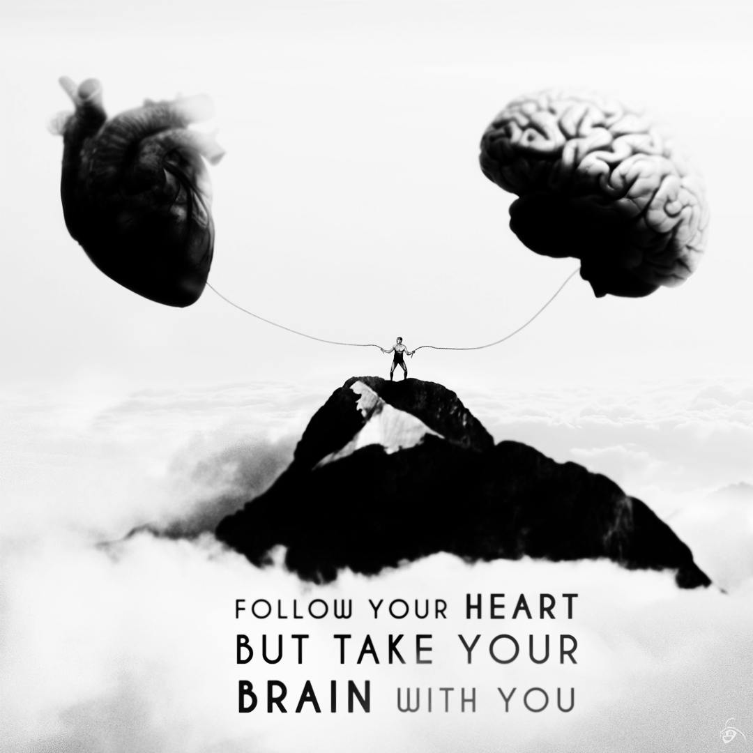 follow-your-heart-take-brain-Man-with-both-hands-holding-brain-and-heart-He-is-standing-on-a-peak-in-the-sky-Motivational-quote-love