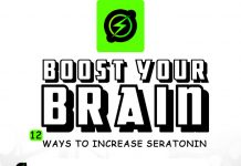 Boost your brain. Ways to increase seratonin. Kid with boosted brain holding his dog.