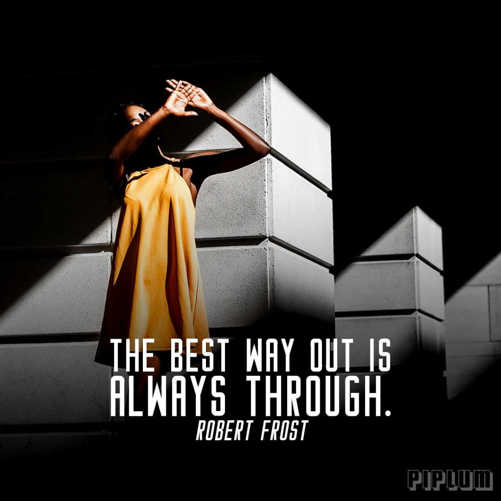 Inspirational Quote. Black women with yellow dress covering her face with hands from the sun rays.