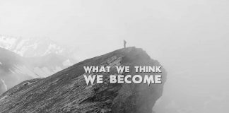 What-We-Think-We-Become.-Inspirational-Quote-man-on-mountain-edge