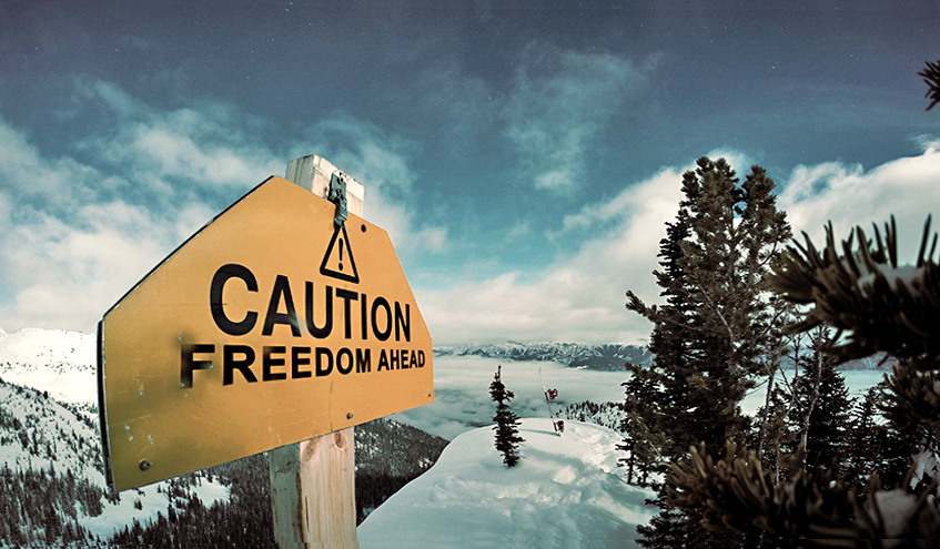 Caution-Freedom-Ahead-Inspirational-Quote-mountains-for-ski-board-skier-slides-blades-adrenalin-redbull
