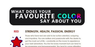 what does your favourite color say about you. color psychology info graphic