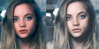 Girl face before and after editing with photoshop. Selfie tutorial.