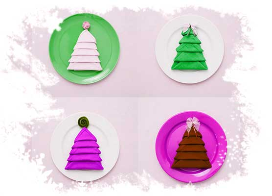 Christmas-tree-napkin-fold-tutorial-Color-variations.