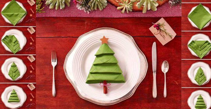 Christmas Tree Napkin Pattern.Amaze Your Guests With Legendary Napkin Fold Christmas Diy