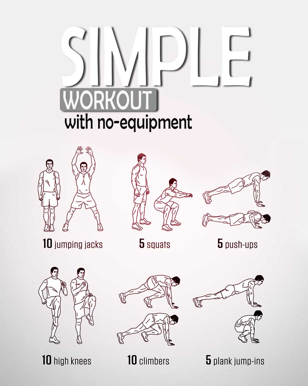 Simple workout with no equipment. Poster.