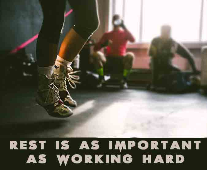 Rest is as important as working hard. Motivational workout quote.