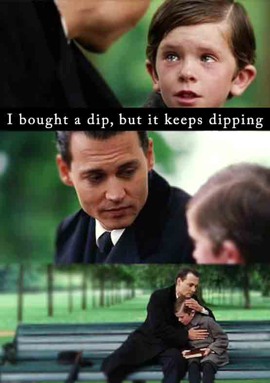 I bought a dip, but it keeps dipping. Funny crypto meme.