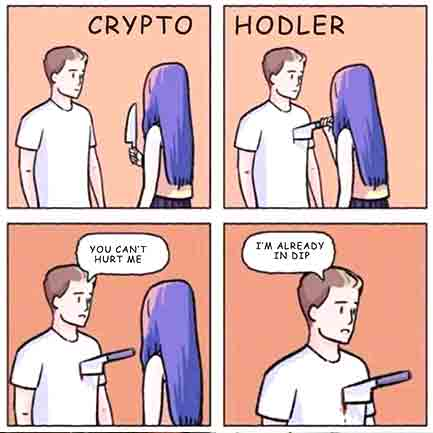 Just a typical crypto meme. Funny life of cryptocurrency trader.